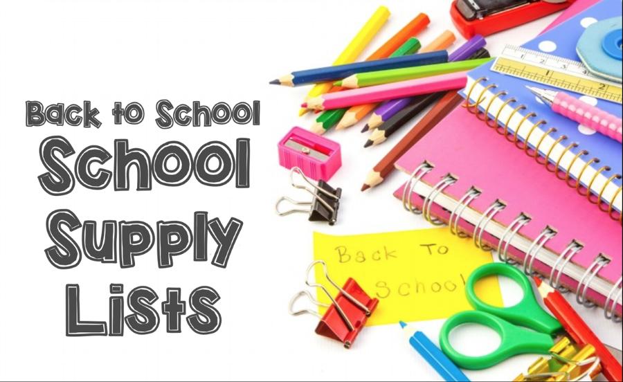 School Supply list for 2018-2019